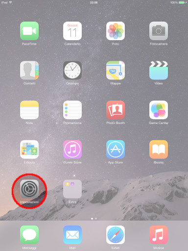 Icona Impostazioni sull'iPad