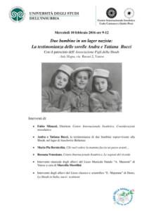 Locandina incontro con le sorelle Bucci